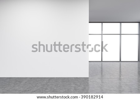 Empty office, white wall in front of Panoramic window. Concept of new office. 3D rendering - stock photo