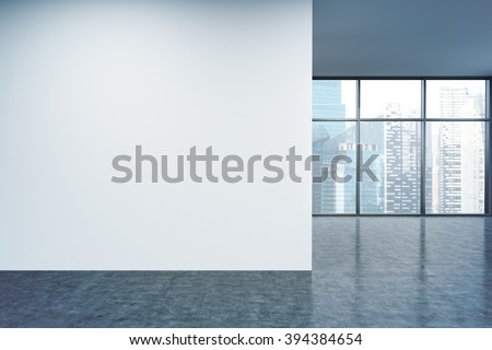 Empty office, white wall in front of panoramic window, Singapore view. Concept of new office. 3D rendering - stock photo