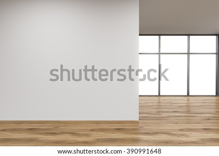 Empty office, white wall in front of panoramic window. Wooden floor. Concept of new office. 3D rendering - stock photo