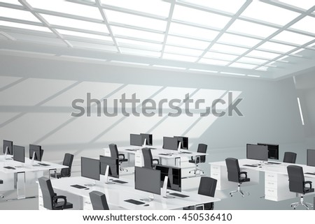 Empty office with desk and computer - stock photo