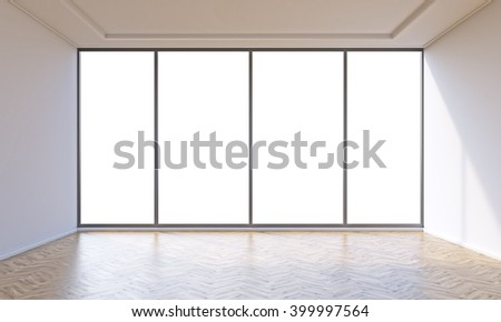 Empty office with panoramic window. Concept of new office. Mock up. 3D rendering - stock photo