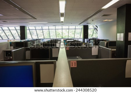 Empty office with separate units at the university - stock photo