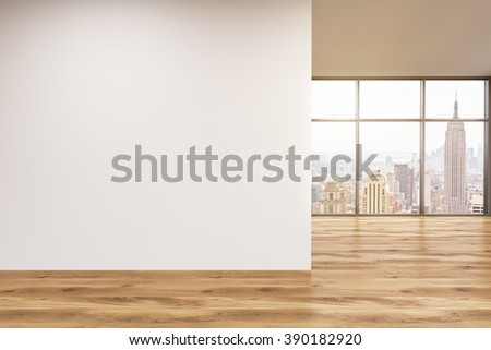 Empty office, wooden wall with white poster in front of panoramic window, New York. Concept of new office. 3D rendering - stock photo