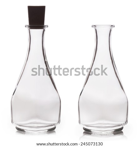 Empty oil bottle isolated on white background - stock photo