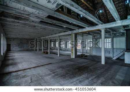 empty old abandoned factory halls