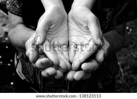 Empty old and young hands in black and white