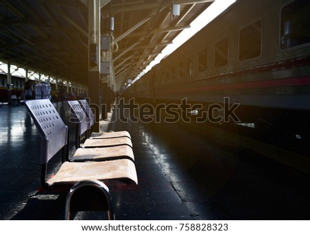 Empty old blue chairs at train station with soft lighting and black floor with a train & Dark Inside Lights Train Imágenes pagas y sin cargo y vectores en ... azcodes.com