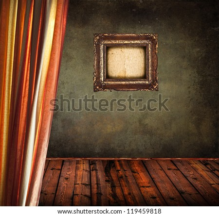 Empty old grunge room with curtain and blank vintage frame - stock photo