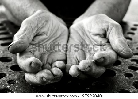 Empty old lady hands in black and white  - stock photo