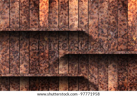 Empty old metal shelf. grunge industrial interior Uneven diffuse lighting version. Design component - stock photo