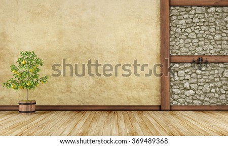 Empty old room with stone wall and wooden beam - 3D Rendering - stock photo