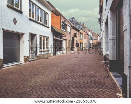 Empty old street of Maaseik. Belgium - stock photo
