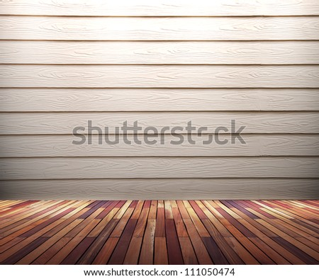 Empty old white wood wall with spot lights and wooden floor - stock photo