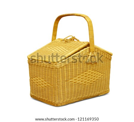 Empty old wicker basket isolated on white - stock photo