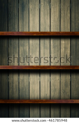 Empty old Wood shelf,bookshelves on wooden wall