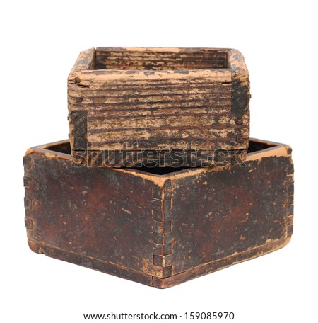 Empty old wooden box isolated on white background - stock photo