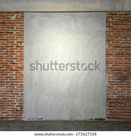 Empty on concrete wall in the old gallery - stock photo