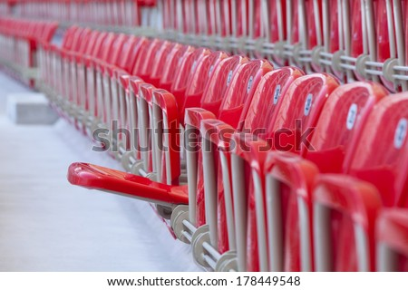 empty one red seat in rows - stock photo