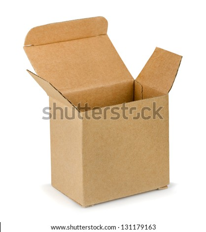 Empty open brown cardboard box isolated on white