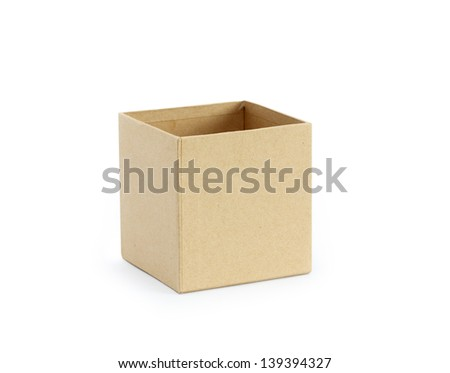 Empty open cardboard box on white background. Clipping path is included