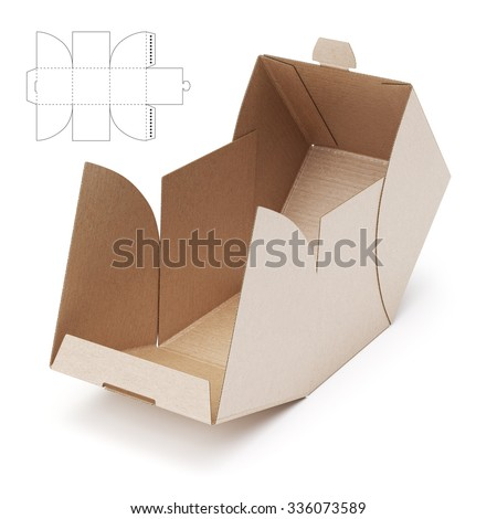 Empty Open Cube Box With Die Cut Template