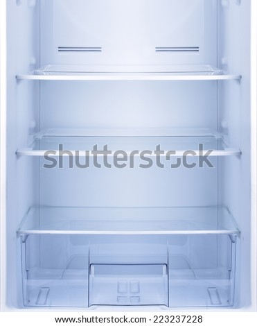 Empty open fridge with shelves, refrigerator. - stock photo