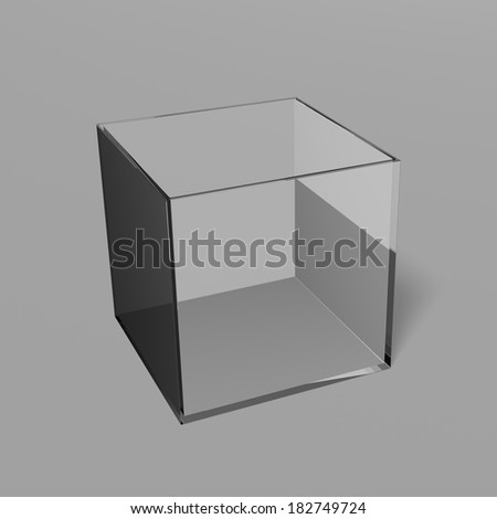 Empty open glass box with shadow - stock photo