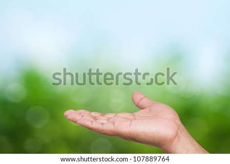 Empty open hand with green background