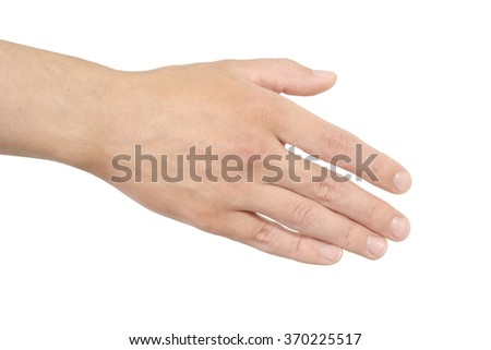 Empty open man hand on white background