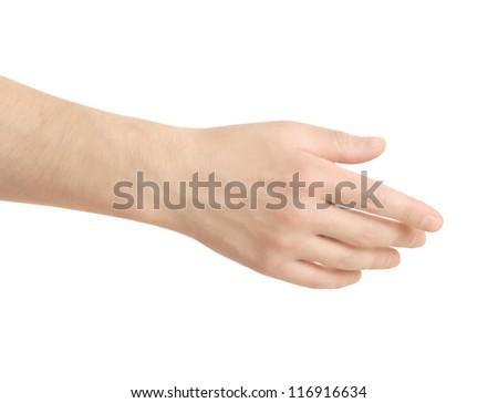 Empty open men hand on white background - stock photo