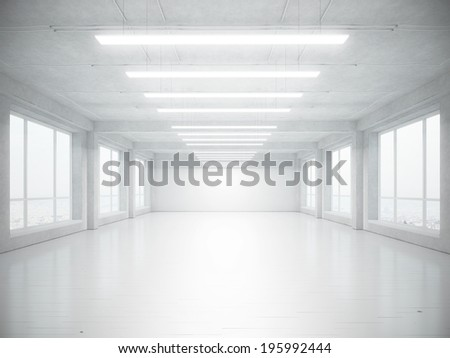 Empty open plan office interior - stock photo