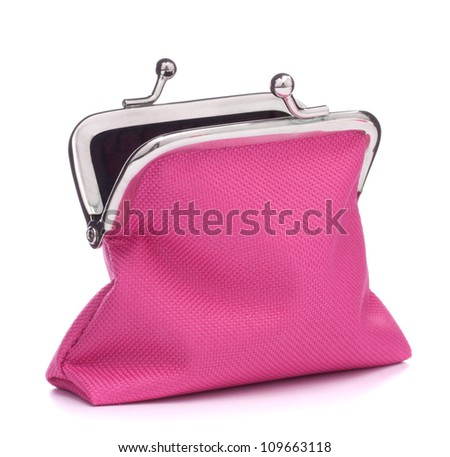 Empty open purse isolated on white background cutout - stock photo