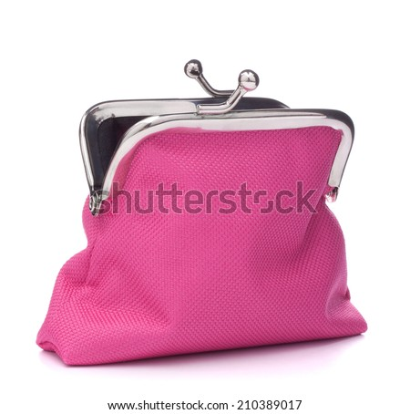 Empty open purse isolated on white background cutout