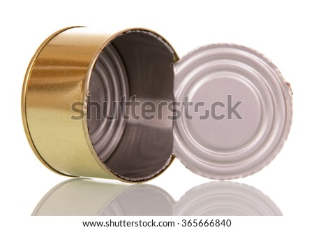 Empty open tin can closeup isolated on white background - stock photo