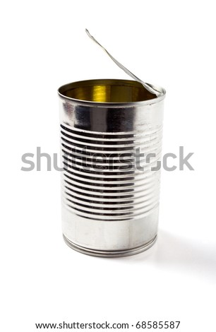 Empty open tin can without label isolated on white. - stock photo