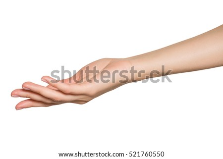 Empty open woman hand. Isolated on white background.