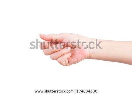 Empty open woman hand on white background