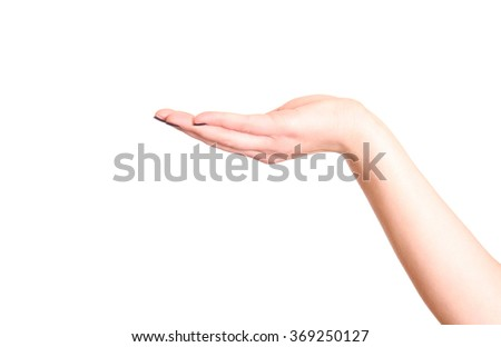 Empty open woman hand on white background.