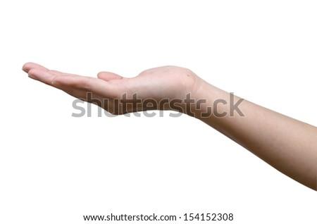 Empty open women hand holding - stock photo