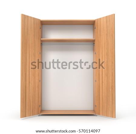 Empty Open Wooden Wardrobe Isolated On The Whitebackground 3d Illustration