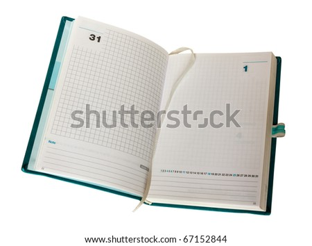 empty opened agenda, organizer with blank page, last first day month year 31 1 - stock photo