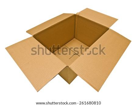 Empty Opened Box On White Background - stock photo