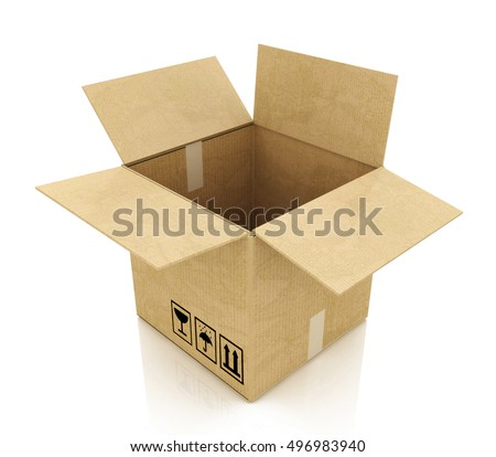 Empty opened cardboard box in the design of information related to business. 3d illustration