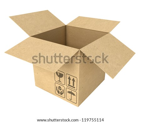 Empty opened cardboard box. Isolated on white background. 3d render - stock photo