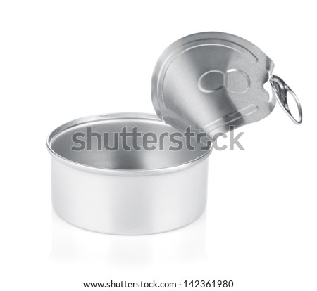 Empty opened tin can. Isolated on white background - stock photo