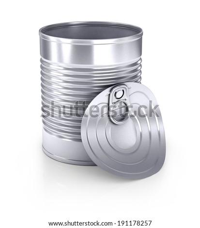 Empty opened tin can. Isolated on white background
