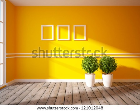 empty orange wall with white inserts - stock photo