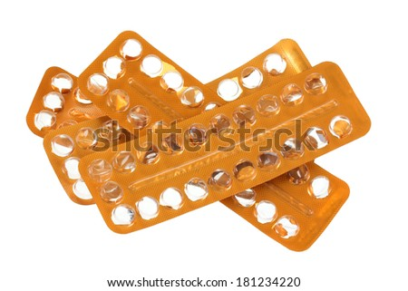 Empty package of Monophasic Birth Control Pills : used up oral hormonal contraception tablet isolated on white background - stock photo