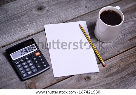 empty paper and business things on table  - stock photo