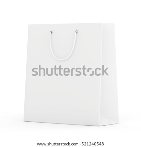 Empty paper bag on white background. 3d rendering